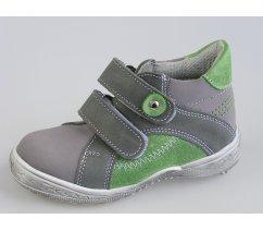Dětská celoroční kožená kotníková obuv ESSI 1802 šedozelená