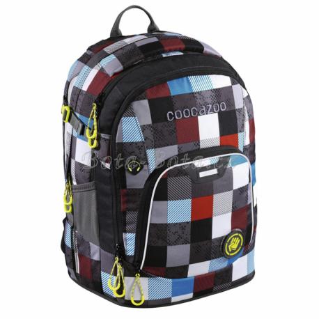 Školní batoh Coocazoo RayDay, Checkmate Blue Red 139270