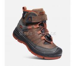 Dětské zimní boty Keen 1023888 REDWOOD MID WP Y-COFFEE BEAN/PICANTE