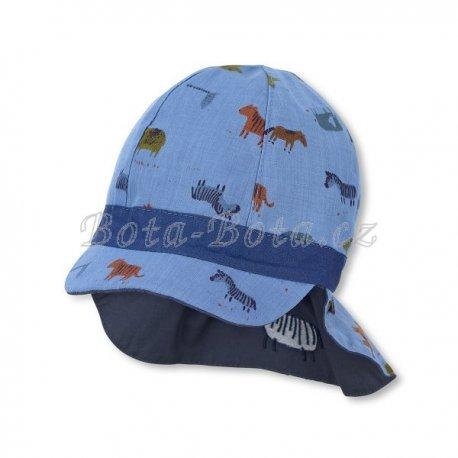 Sterntaler 1602140 Plátěná čepice, UV filtr, ochrana na krku,
