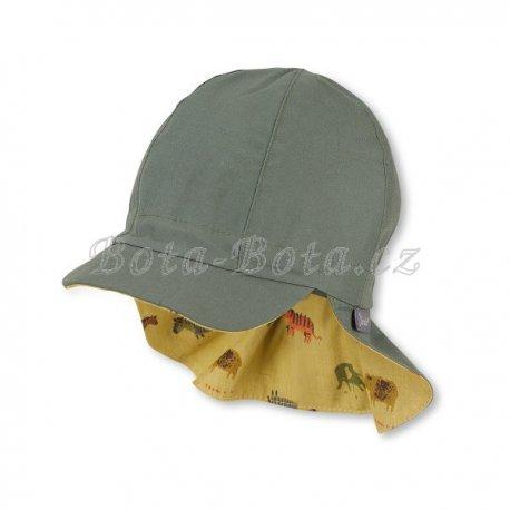 Sterntaler 1602139 Plátěná čepice, UV filtr, ochrana na krku,